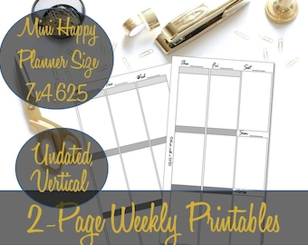 Mini Happy Planner Weekly Inserts, Week on 2 Pages, Vertical Inserts, WO2P, Mini Happy Planner Printables, Mambi Inserts, Happy Planner Mini