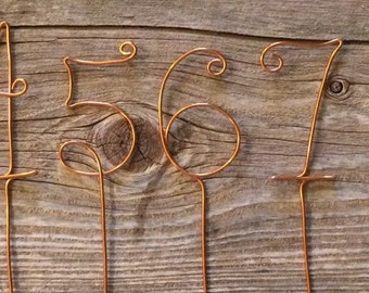 Set of 10 light pink wire table numbers set of 10 copper wire table numbers greentooth Image collections
