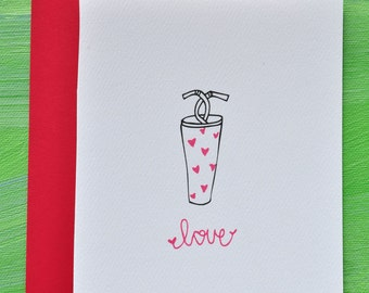 Milkshake Love Greeting Card I Love You Wedding Anniversary