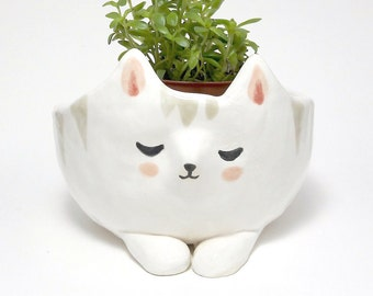 CAT Plant Pot Handmade With Earthenware Clay. Home Decor Urban Garden Keepsake, Housewarming, Wedding Or Birthday Gift