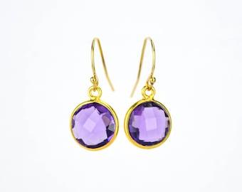 Custom Gemstone Earrings, Purple Amethyst Earrings, February birthstone earrings, bridesmaid gift ideas for her, purple gift for women