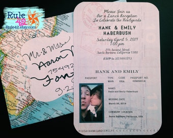 Passport Invitation and Vintage Atlas Envelope by Rule42
