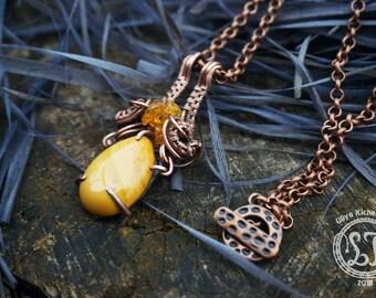 boho jewelry, wire wrap pendant, copper necklace, wire wrapped jewelry, wire wrapped pendant, artisan wire jewelry, copper jewelry, pendant