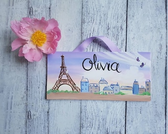 Personalized Paris name sign for Child's Room or Nursery/ kids door sign/ child's name, Baby Name, Eiffel tower, travel, Nursery Name Sign
