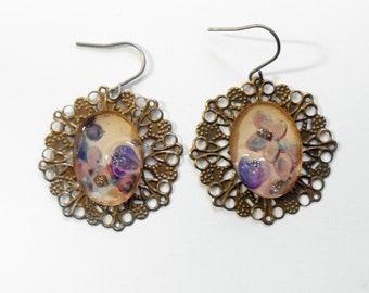 Vintage Lilac Postcard Filigree  Earrings Titanium Hypoallergenic Floral Diorama Surgical Steel OOAK