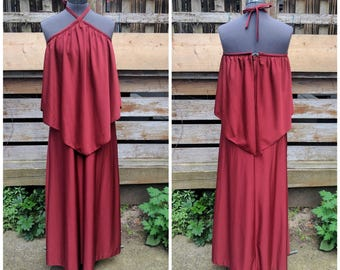 Vintage 1970's QUIANA Copper Burgundy Halter Evening Prom Bridesmaid Dress With Matching Cape