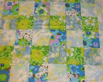 modern patchwork squares baby blanket vintage sheet heirloom keepsake quilt - blue purple green