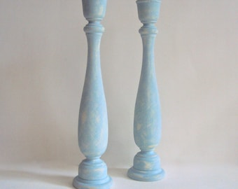 Shabby Cottage Chic Candle Holders - Two Tall Blue & White Candlesticks - Rustic Spring Farmhouse Decor - Pair of Wooden Candle Sticks
