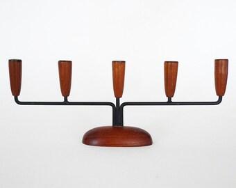 Mid Century Modern Luthje Danish Teak Candle Holder / Candelabra