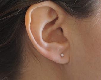 Pearl Stud Earrings cartilage stud gold stud simple silver studs simple studs silver studs Confetti white pearl AAA freshwater 0275