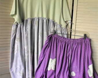Plus Size 2Pc Set/ Tunic and Funky Bottom/ Casual Funwear/ 3-5X Clothing/ Stripe, Print, Polkadots/ Appliques/ Sheerfab Handmade