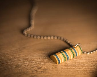 """Recycled Skateboard """"Parking block"""" necklace"""