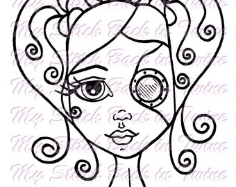 Digital stamp colouring image -  Steampunk girl . jpeg / png