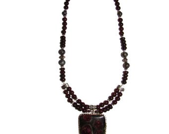 Unique garnet-almandine beads with pendant. Top quality. Ural Mountains, Russia