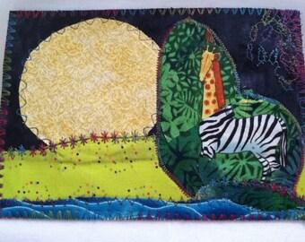 Confused giraffe/zebra fabric postcard