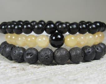 Black Jasper, Yellow Jade, Onyx and Lava Rock Triple Stack Bracelets