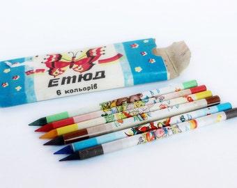 Soviet vintage crayons UNUSED 1989 Vintage crayons Soviet pencils Vintage box of pencils Vintage pencils