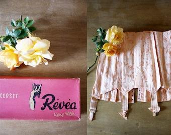1940s Revea Corset in Box / 40s Cotton Girdle / Brand New in Box / 1940s Girdle in Box / Deadstock Vintage / Size Large / L XL