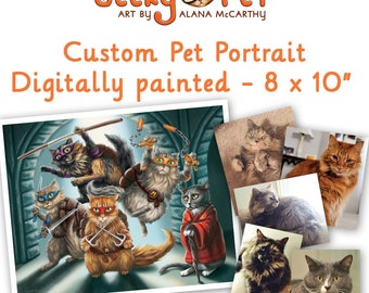 """Custom painted cat or dog portrait as a character 8 x 10"""" archival print included"""