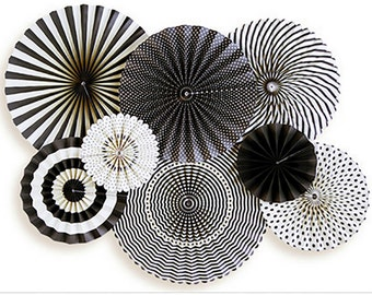 Black and White Paper Rosette Backdrop | Graduation Party Decor Black Pinwheel Backdrop Black Pinwheel Fans Grad Party Black Fan Backdrop