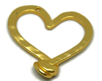 Large hammered brass 49x48mm heart pendant