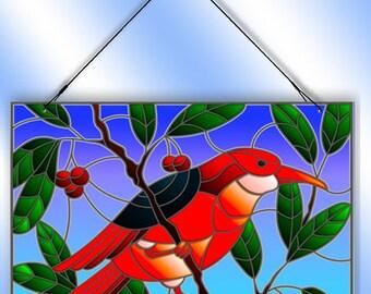 Red Bird In Cherry Tree Decorative Window Sun Catcher from Redeye Laserworks