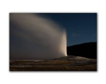 Night photography, Old Faithful, geyser photo, Yellowstone, night sky, stars, moonlight, large wall art, landscape print, astronomy decor