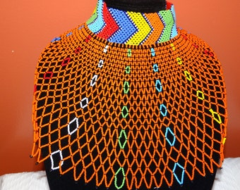 African beaded choker statement necklace