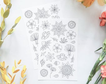 Floral Coloring Planner Stickers, Bullet Journal Stickers, Adult Coloring Planner Stickers, Coloring Stickers, Flowers Coloring Stickers