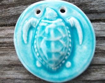 Stunning Ceramic Sea Turtle Pendant