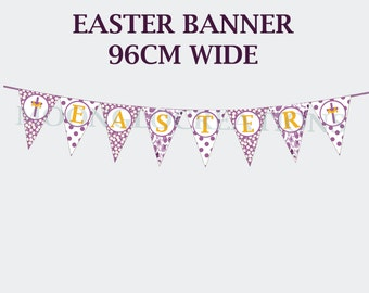 Easter Banner, Printable download, Paisley, Polka dots, flowers