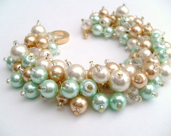 Bridal Jewelry, Wedding, Pearl Bridesmaid Bracelet, Mint Green, Ivory Pearl, Champagne Gold, Cluster Bracelet, Pearl Bracelet, Pearl Jewelry