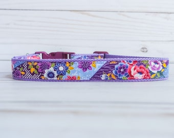 Floral dog collar, Rose Girl dog collar, Purple Flower dog collar, Small dog collar, Medium large dog collar, Kimono girly puppy dog collar
