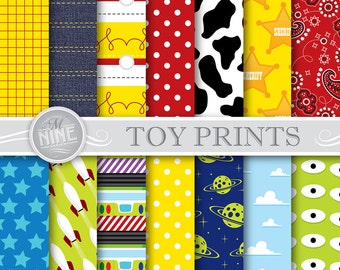 Toy Party Digital Paper: TOY Pattern Prints, Instant Download, Paper Pack Patterns Scrapbook Print