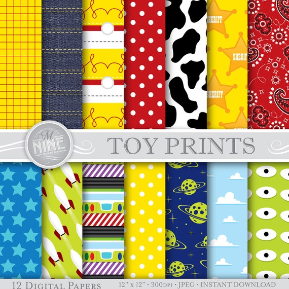Toy Party Digital Paper: TOY Pattern Prints Instant Download