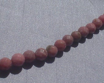 natural gemstone rosy pink rhodonite facet round bead 6 mm / 7.5 inch