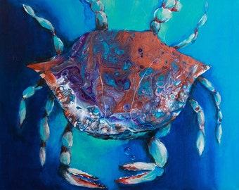 Blue Crab Acrylic Pour Print on 16x20 Canvas