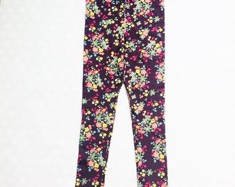 Leggings for Women and Teens - Womens Print Leggings - Floral Leggings - Floral Print Leggings - Plum  Leggings