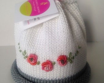 Rose Hand Knit Newborn Baby Hat Colorful Crowns