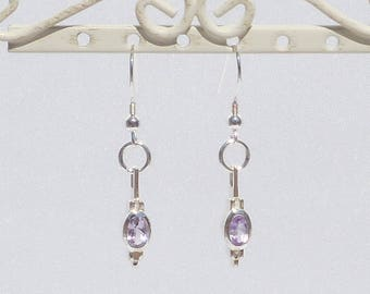 Sterling silver earrings with amethyst and sterling silver drops