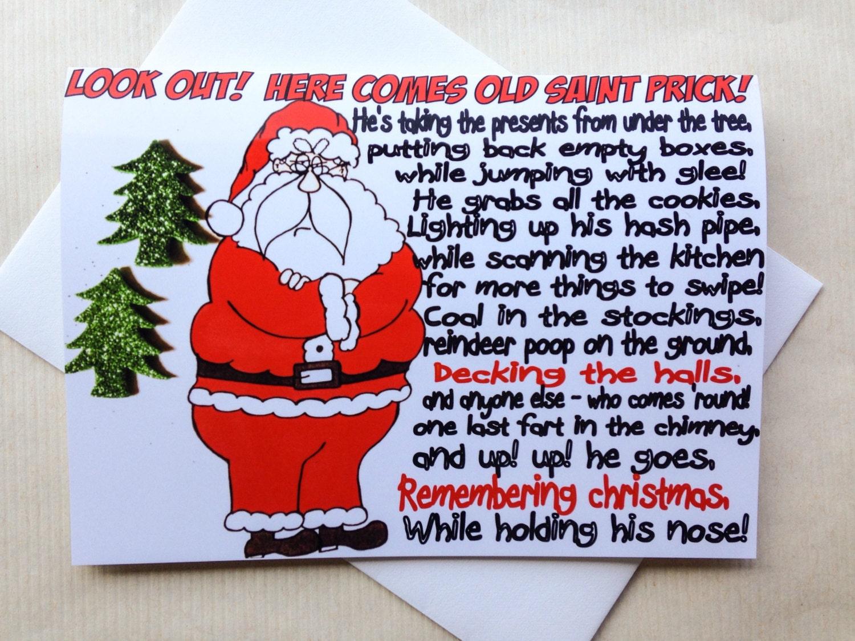 Funny christmas card sarcastic santa original hand drawn zoom kristyandbryce Image collections