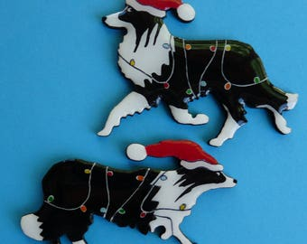 Border Collie Christmas Pin, Magnet or Ornament-Color and Style Choice-Free Shipping-Free Personalization
