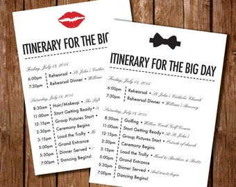 Printable Itinerary For Wedding Wedding Itinerary Wedding - Wedding day itinerary template