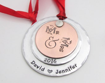 Wedding Ornament, Personalized Ornament, Mr & Mrs Christmas Ornament, Hand Stamped Ornament, Christmas Ornament, Custom First Christmas