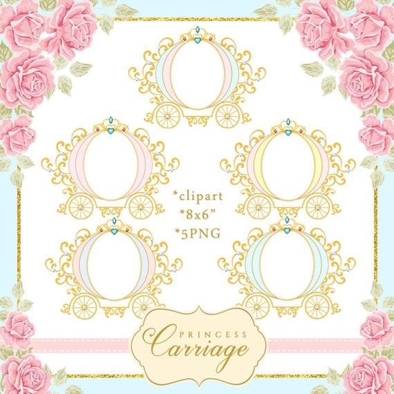 Princess Carriage Clipart frame, Vintage Carriage illustration ...