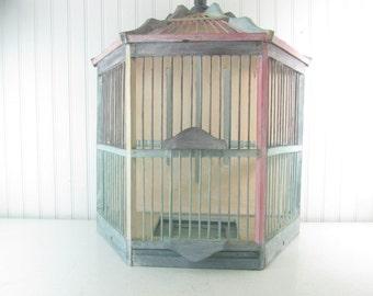 Shabby Chic Birdcage, Vintage wall birdcage, wood birdcage, home decor, bird house, shabby chic decor, beach decor,
