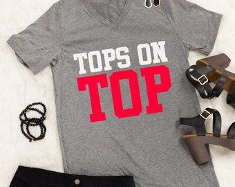 Tops On Top V-Neck Graphic Tee Heather Grey..Gameday Tee..Tailgating Tee..Preppy Game Day Tee..WKU Gameday..Western Kentucky University