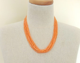 Peach necklace, seed bead necklace, salmon necklace, orange necklace, bridesmaid necklace, wedding jewelry,summer,multistrand necklace,boho