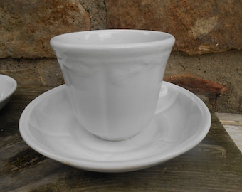 One Antique White Ironstone Handleless Teacup and Saucer Prairie Flower Minimalist Farmhouse Tea Party English T & R Boote c. 1853