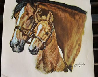Vintage Lithography by Ole Larsen.  Mare and Foal
